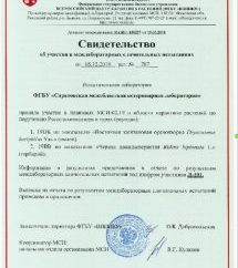 Результаты участия ФГБУ «Саратовская МВЛ» в плановых межлабораторных сличительных испытаниях